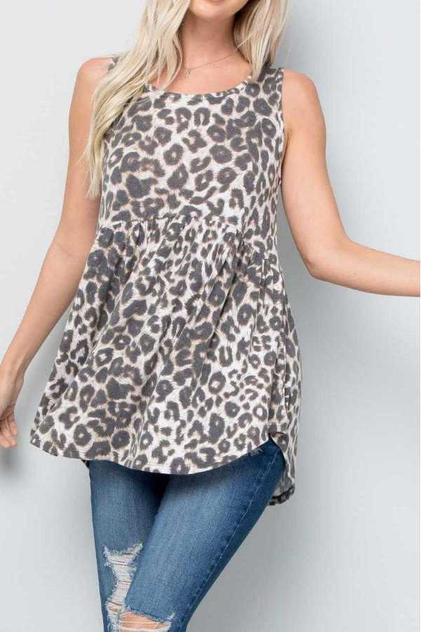 PLUS SIZE-LEOPARD PRINT BABYDOLL TUNIC TOP