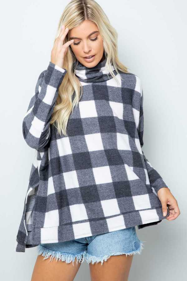 TURTLE NECK PLAID TUNIC TOP