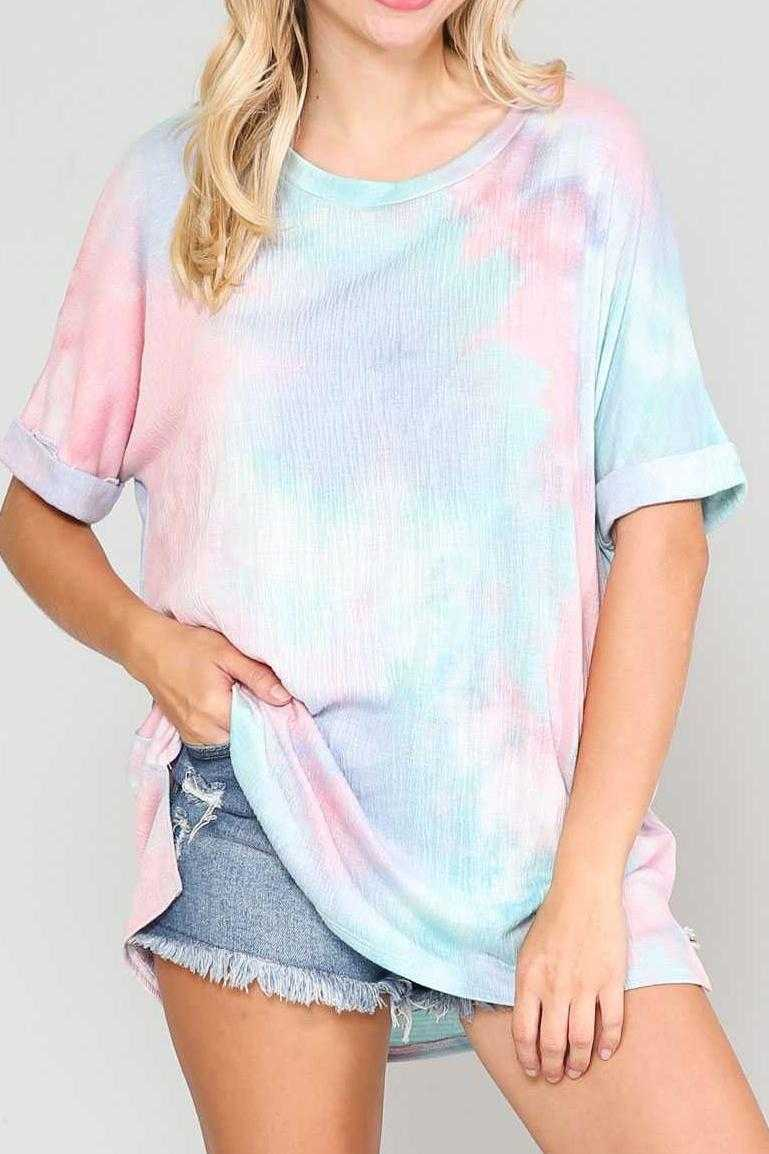 EXTRA PLUS-LOOSE FIT TIE DYE PRINT TUNIC TOP