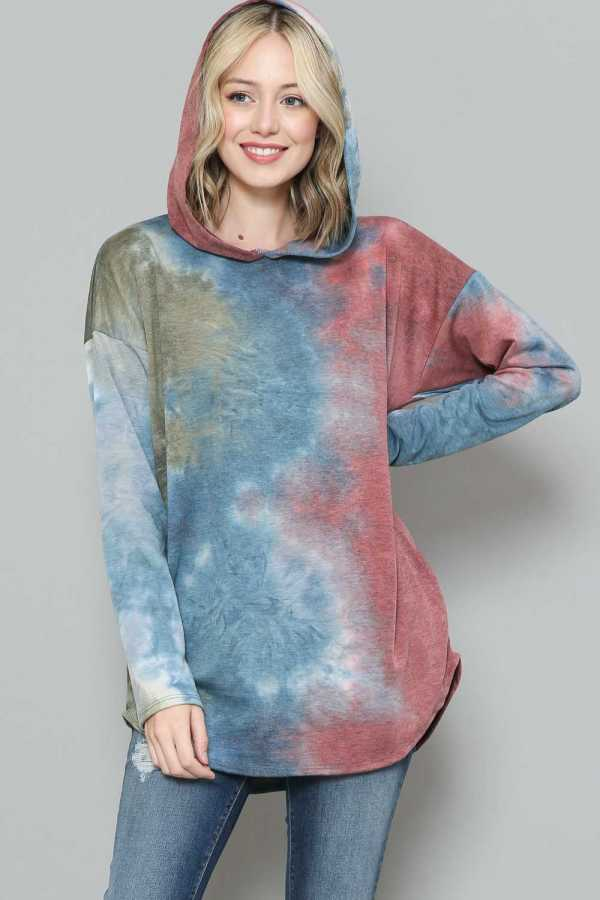 TIE DYE HOODIE DETAIL SWEATER TOP