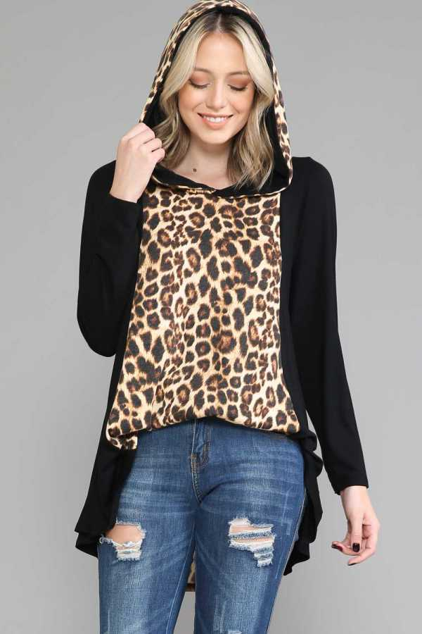 PLUS SIZE-LEOPARD PRINT TUNIC TOP W/HOODIE