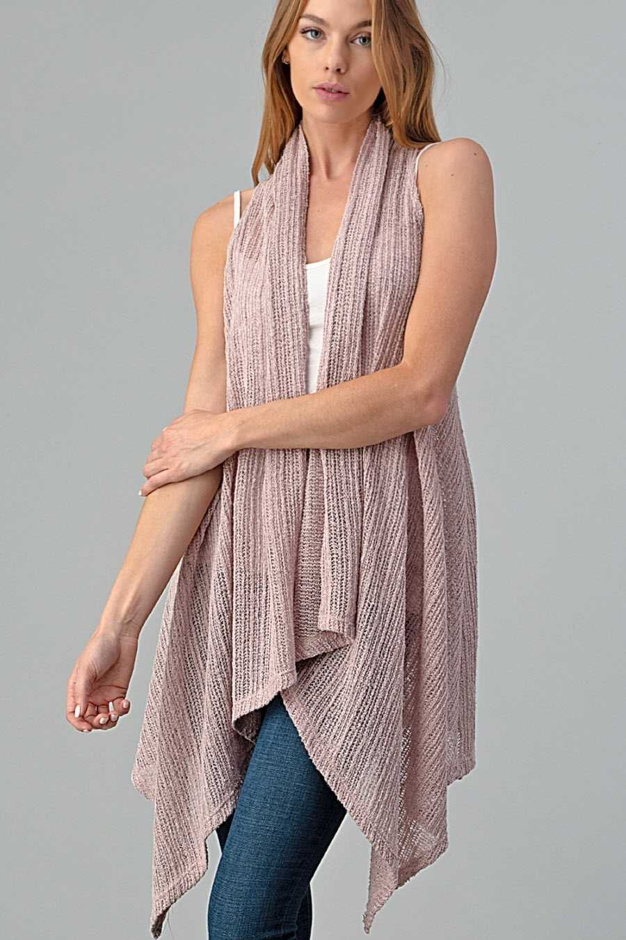 PLUS SIZE SOLID RIBBED OPEN VEST