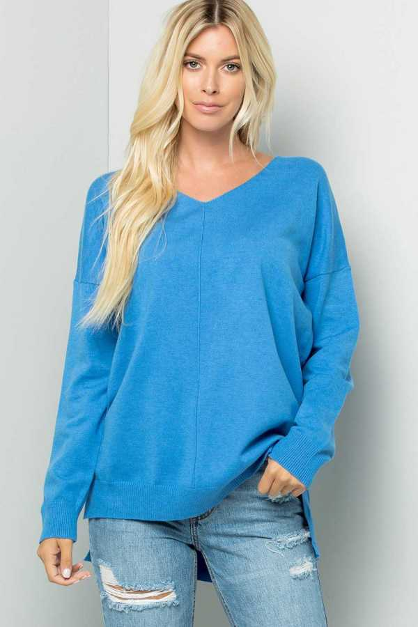 V NECK LONG SLEEVE SOLID PRINT TOP