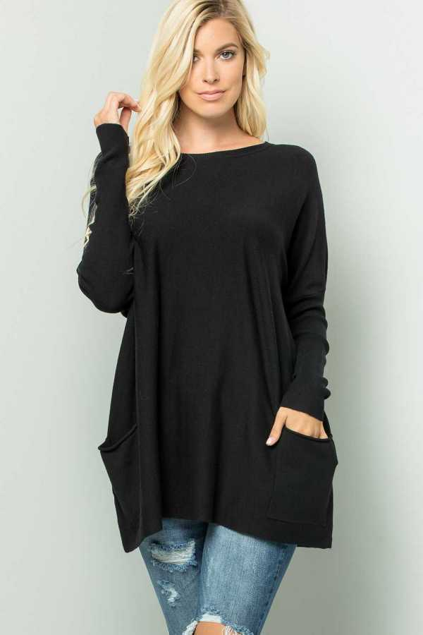 LOOSE FIT SOLID KNIT TOP WITH POCKETS