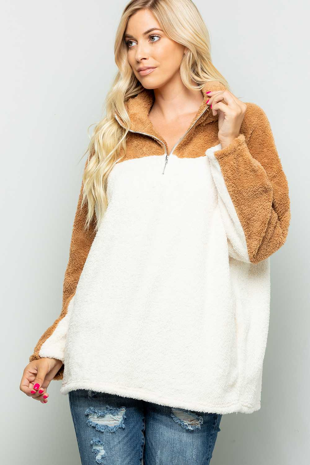 PLUS SIZE HALF ZIP UP FAUX FUR DETAILED SWEATER TOP
