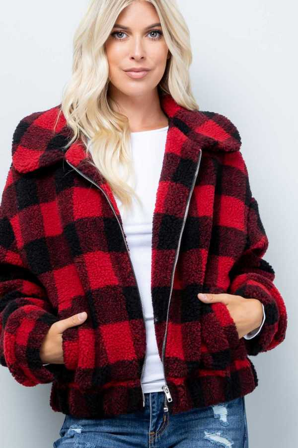 PLAID PRINT DETAIL JACKET