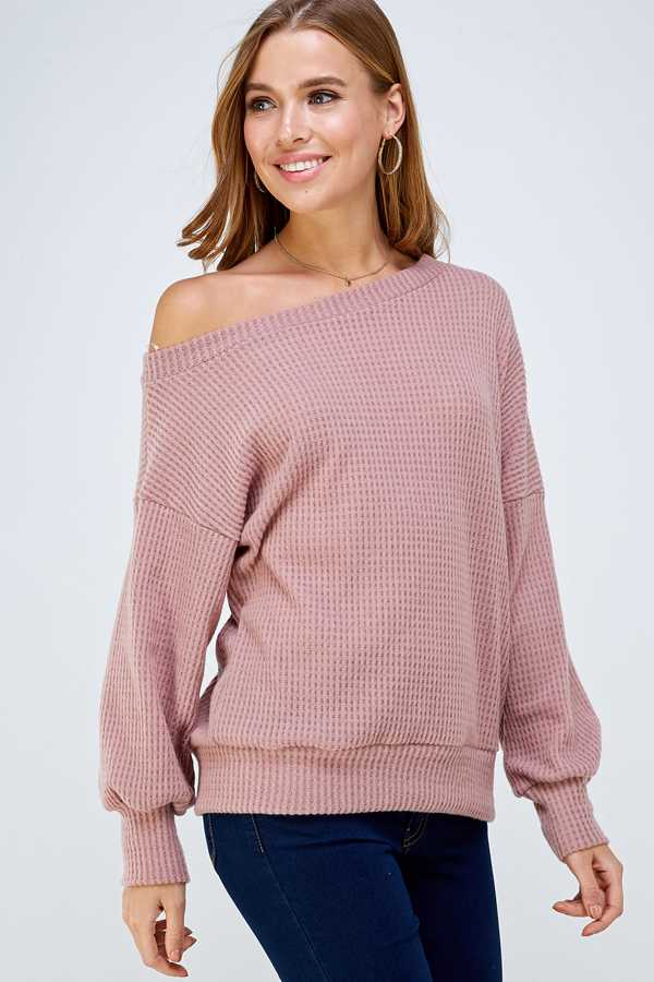 ONE SHOULDER KNIT SWEATER TOP