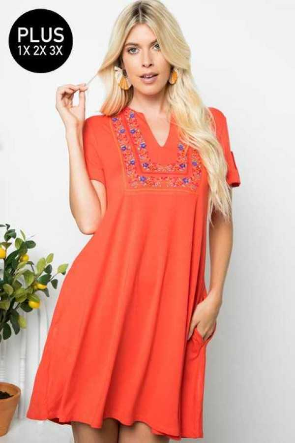 PLUS SIZE EMBROIDERY DETAILED DRESS