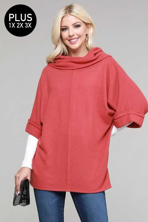 PLUS SIZE COWL NECK DETAILED 2/3 SLEEVE TOP