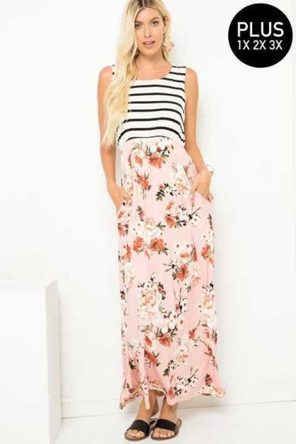 PLUS SIZE STRIPE AND FLORAL PRINT MAXI DRESS WITH