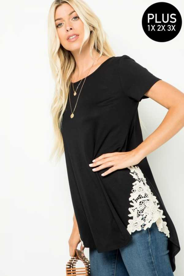 6/20 PRE ORDER-PLUS SIZE CROCHET DETAILED TUNIC TOP