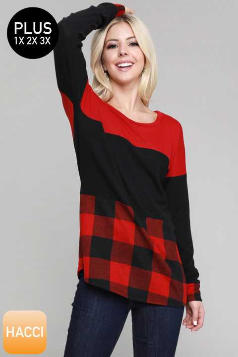 11/29 PRE ORDER-PLUS SIZE PLAID PRINT COLORBLOCKED TUNIC TOP