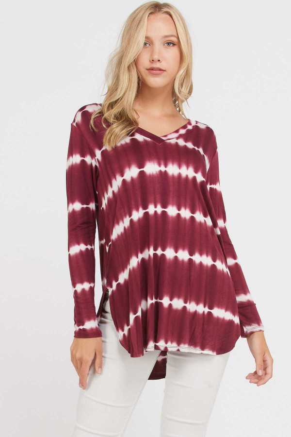 TIE DYE STRIPED LONG SLEEVE TOP