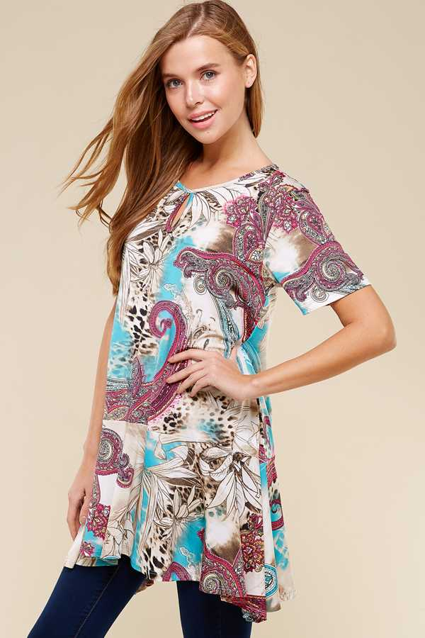 PLUS SIZE DETAILED PAISLEY PRINT TOP