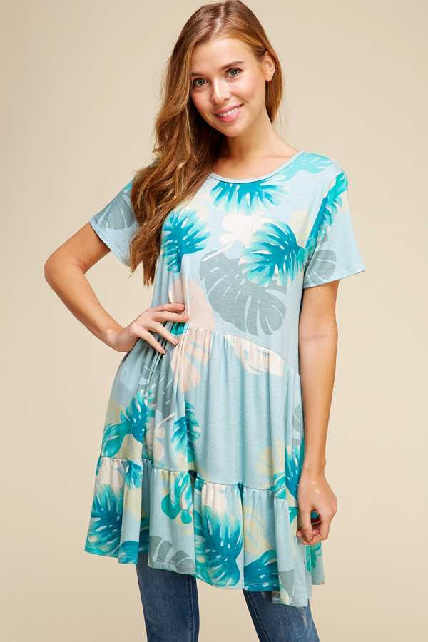 PLUS SIZE RUFFLED LEAF PRINT TUNIC TOP
