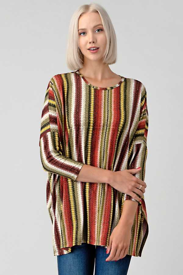 MULTI STRIPED TUNIC TOP