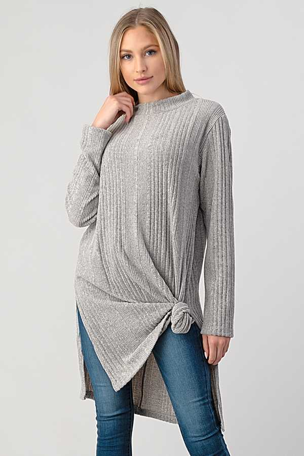 RIBBED KNIT TUNIC TOP