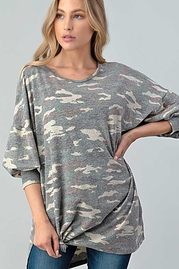 TWISTED HEM CAMOUFLAGE DETAILED TOP