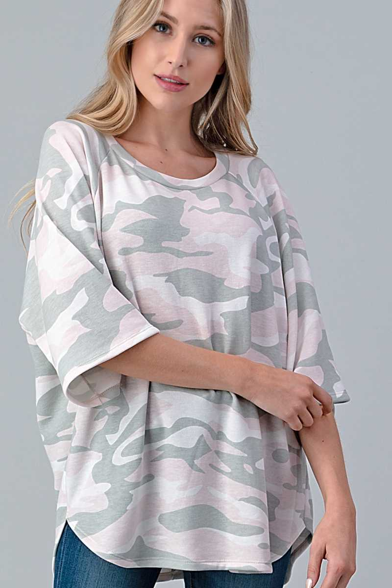 PLUS SIZE CAMOUFLAGE PRINT DETAILED TOP