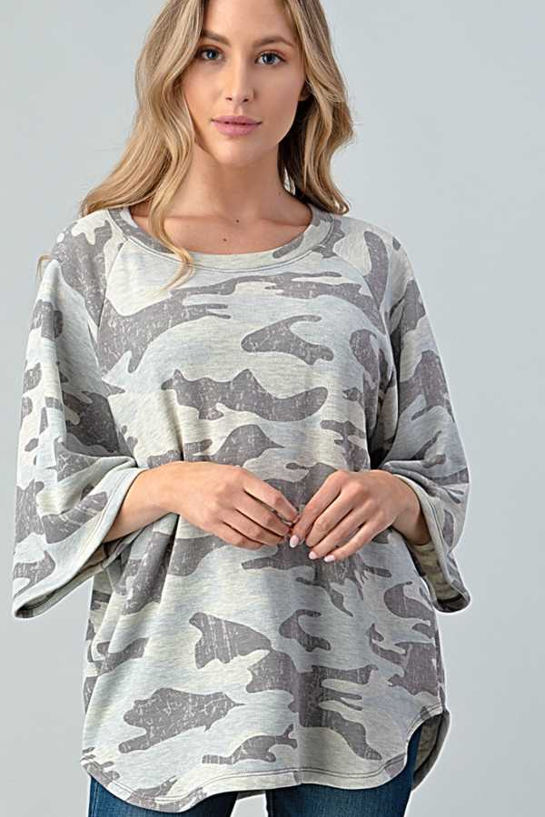 WIDE SLEEVE CAMOUFLAGE PRINT TUNIC TOP