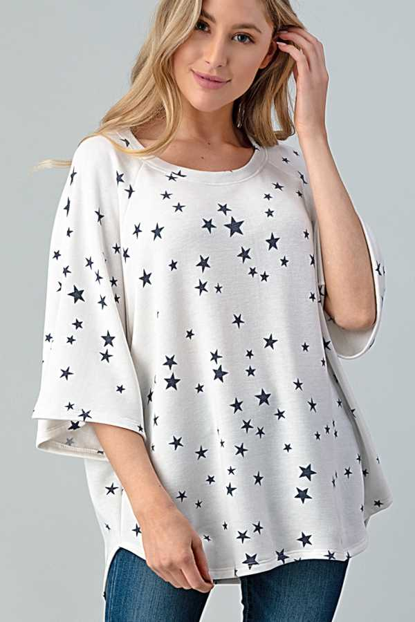 12/16 PRE ORDER WIDE SLEEVE STAR PRINT TUNIC TOP