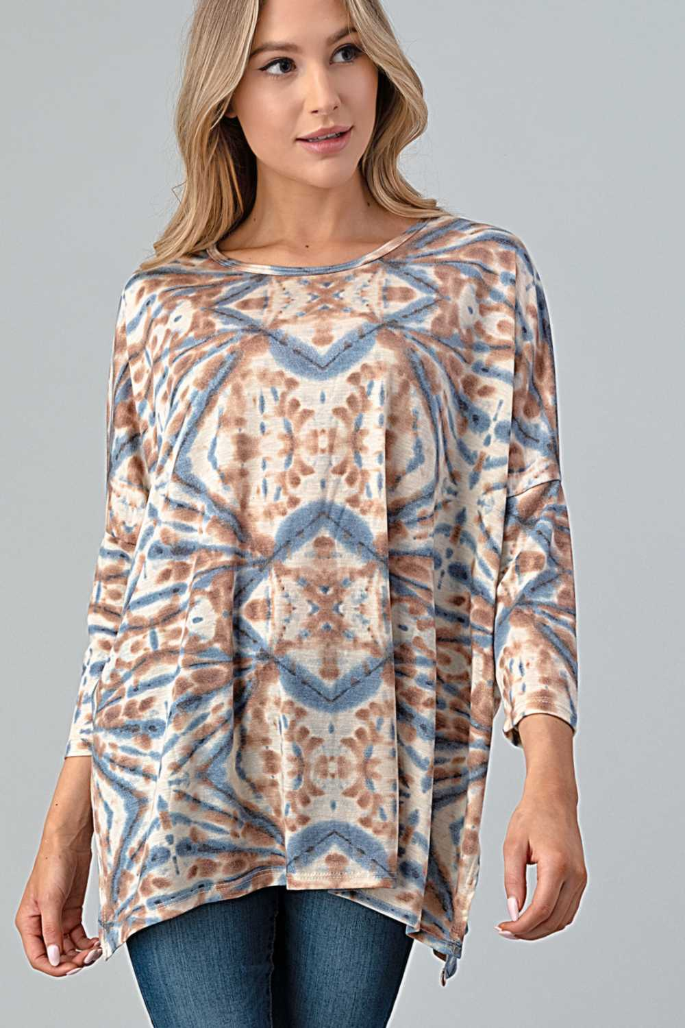 12/20 PRE ORDER TIE DYE DETAILED TUNIC TOP