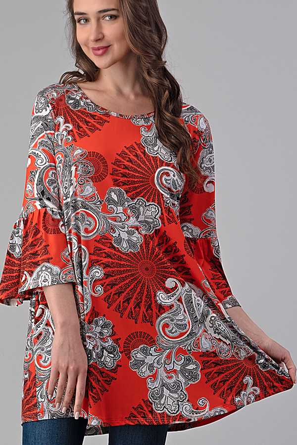3/3 PRE ORDER PLUS SIZE PAISLEY PRINT RUFFLE SLEEVE TUNIC TOP