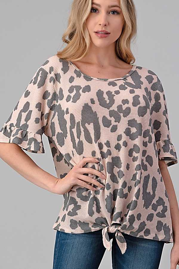 KNOTTED HEM ANIMAL PRINT WAFFLE KNIT TOP