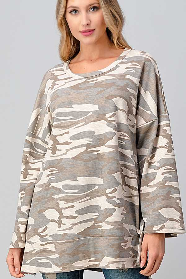 PLUS SIZE-CAMOUFLAGE LOOSE FIT TUNIC TOP