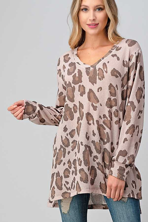 ANIMAL PRINT V NECK CONTRAST TUNIC TOP