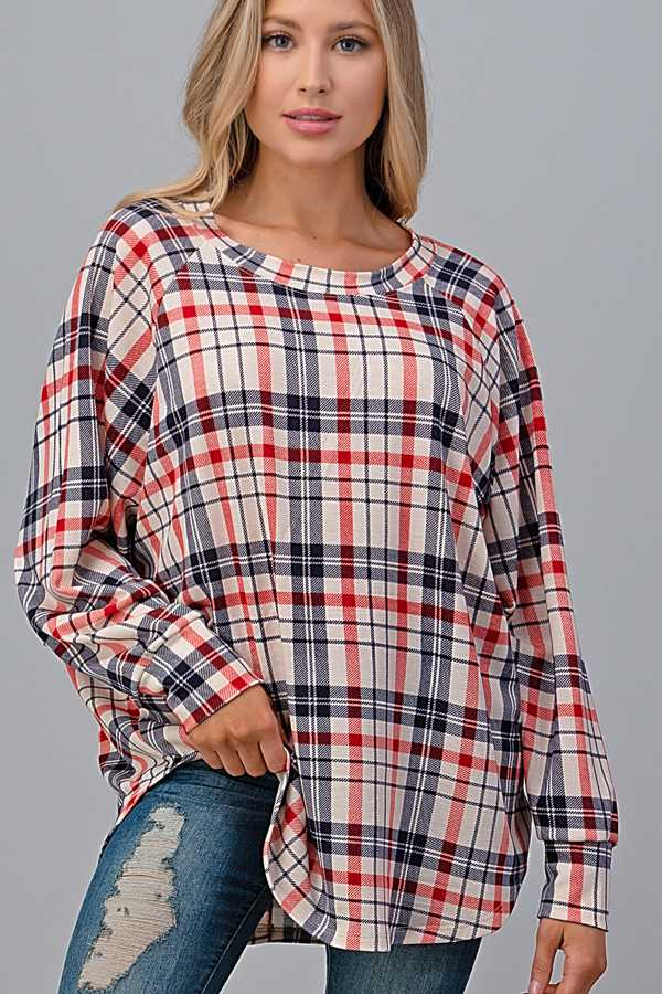 STRIPED PRINT LOONG SLEEVE TUNIC TOP