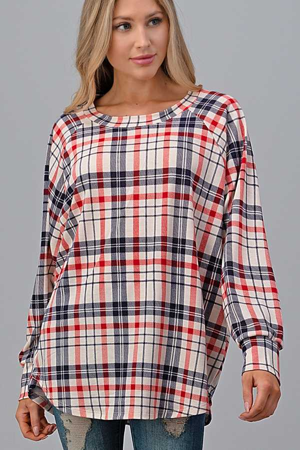 PLUS SIZE-STRIPED PRINT LOONG SLEEVE TUNIC TOP