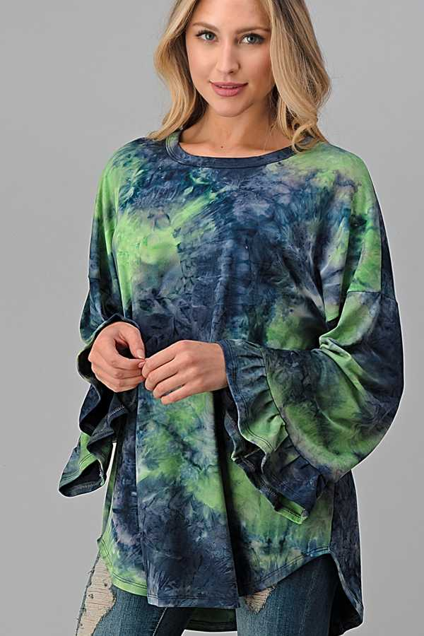 PLUS SIZE-WIDE RUFFLE SLEEVE TIE DYE TUNIC TOP