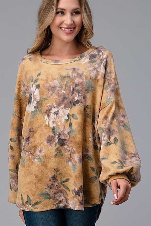FLORAL PRINT BUBBLE SLEEVE TOP