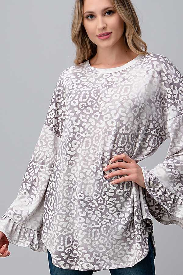 PLUS SIZE-ANIMAL PRINT RUFFLE SLEEVE TUNIC TOP