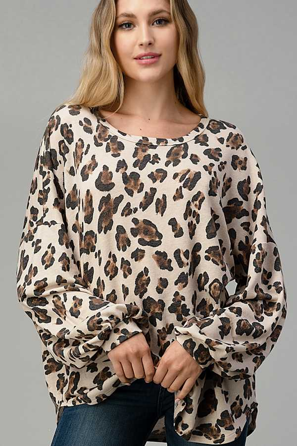 PLUS SIZE-ANIMAL PRINT BUBBLE SLEEVE TOP