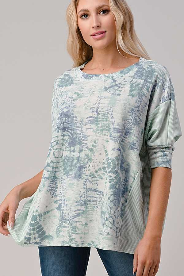 EXTRA PLUS SIZE-ABORIGINAL PRINT DETAIL TUNIC TOP
