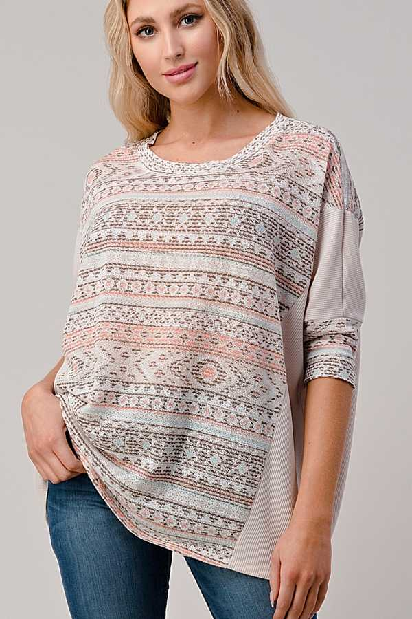 EXTRA PLUS SIZE-AZTEC PRINT DETAIL TUNIC TOP