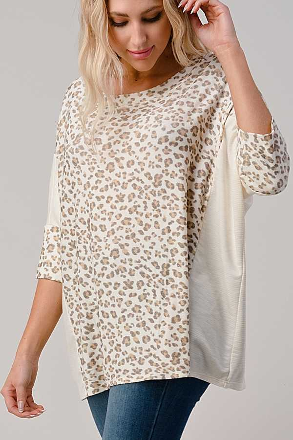 ANIMAL PRINT DETAIL TUNIC TOP