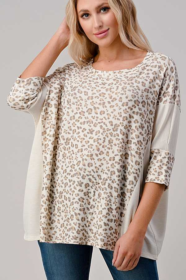 EXTRA PLUS SIZE-ANIMAL PRINT DETAIL TUNIC TOP