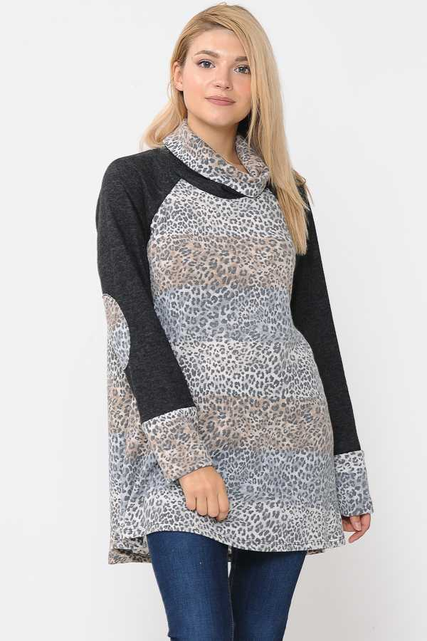 COWL NECK LEOPARD PRINT SWEATER TOP