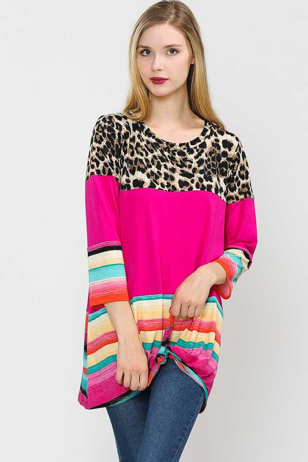 PLUS SIZE KNOTTED HEM STRIPED LEOPARD PRINT TUNIC TOP
