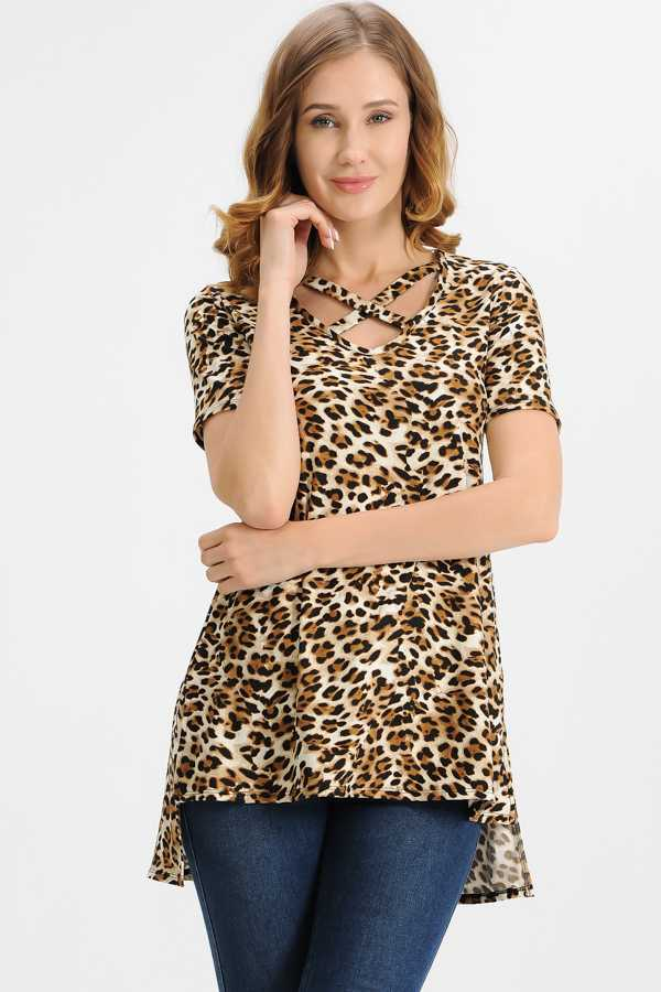 PLUS SIZE CRISS CROSS DETAILED ANIMAL PRINT TUNIC TOP