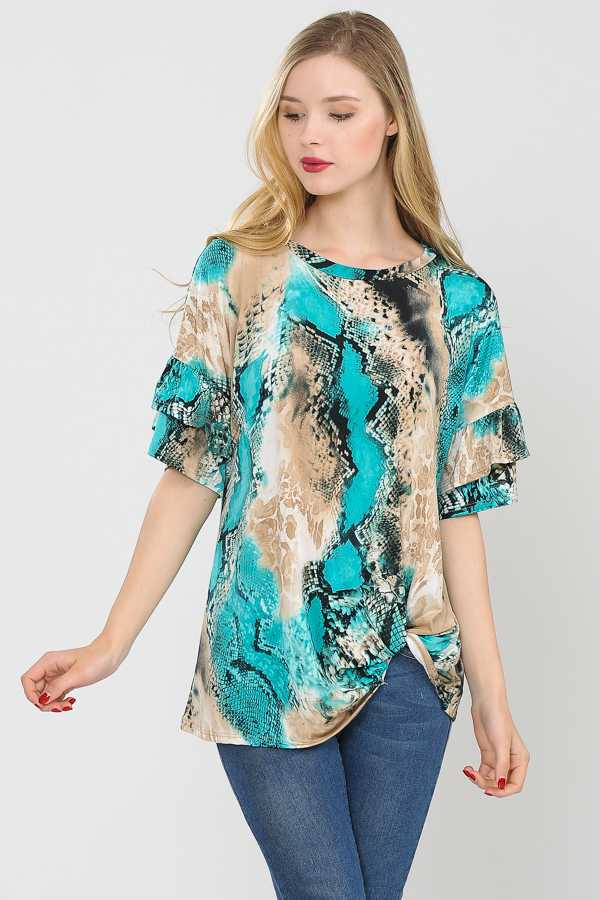 RUFFLED SLEEVES DETAILED TUNIC TOP