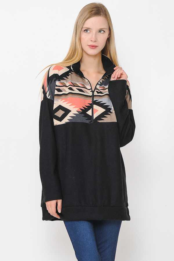 PLUS SIZE HALF ZIP UP AZTEC PRINT CONTRAST DETAILED TOP