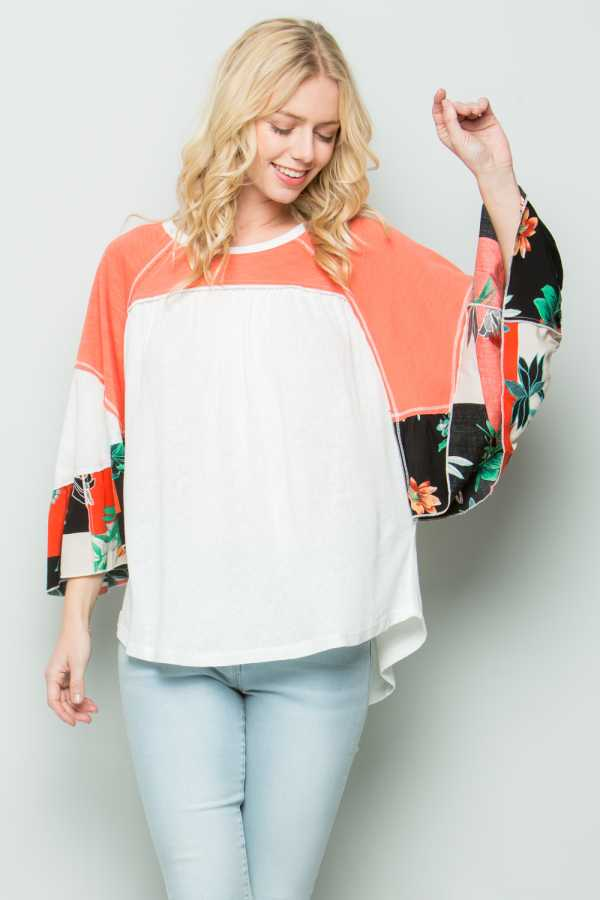 FLORAL PRINT RUFFLE SLEEVE COLOR BLOCK TUNIC TOP