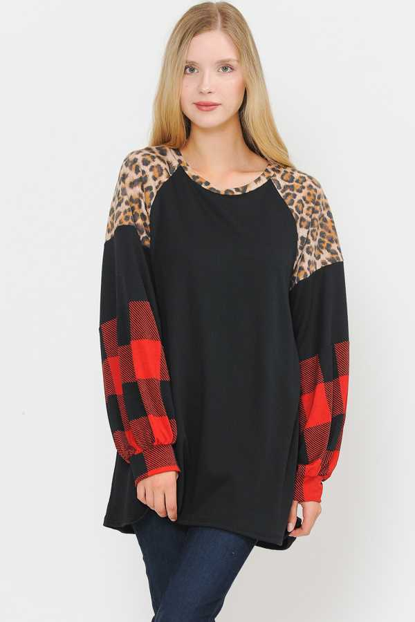 PLUS SIZE MULTI PRINT BUBBLE SLEEVE DETAILED TOP