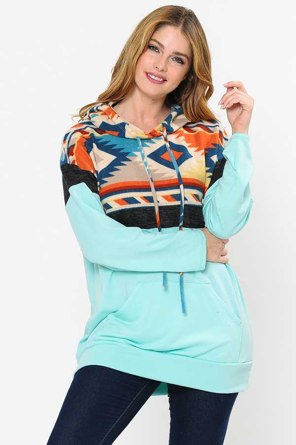 AZTEC PRINT CONTRAST DETAILED HOODIE TOP