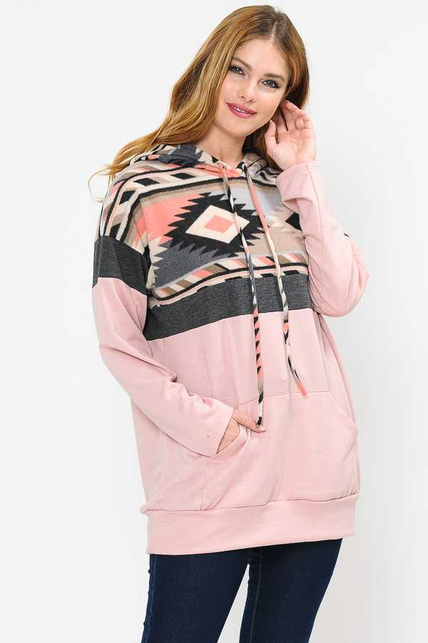 PLUS SIZE AZTEC PRINT CONTRAST DETAILED HOODIE TOP
