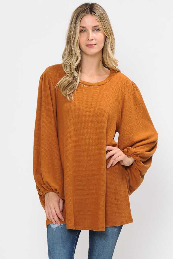 BUBBLE SLEEVE KNIT TUNIC TOP